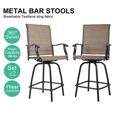 PHI VILLA Outdoor Patio Bistro High Chairs,Sling Swivel Bar Stools Set of 2 ()