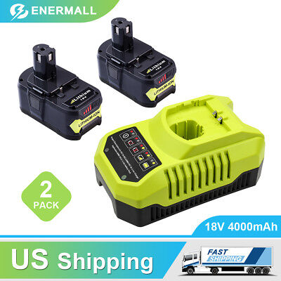 2 Of P108 Replace For Ryobi 18V Lithium Battery 4 0Ah And P117 Charger For Ryobi