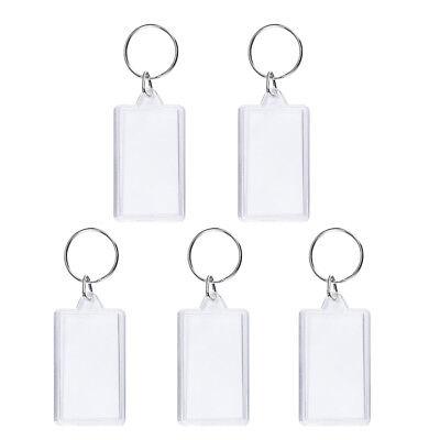 50X Acryl Rechteck Schlüsselringe Leere Einfügen Bilderrahmen Schlüsselanhänger