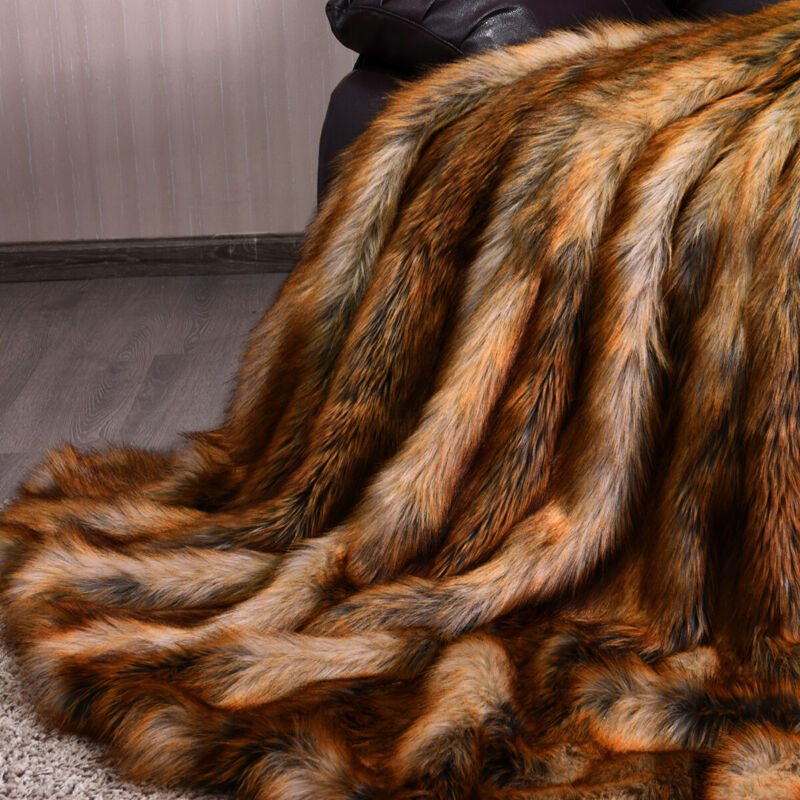"""Luxury Plush Faux Fur Throw Blanket Soft Warm Fluffy for Bed Couch 54""""x 36"""""""