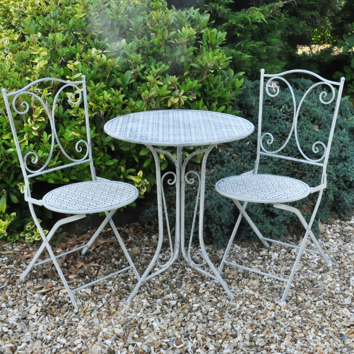 Garden Furniture - Garden Patio Bistro Table & 2 Chairs Furniture Dining Set Metal Round Grey Lace