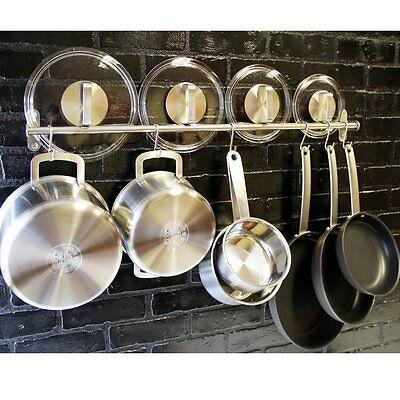 Pot And Pan Organizer Wall Mount Rack Rail System Hanging Kitchen Hook Stainless
