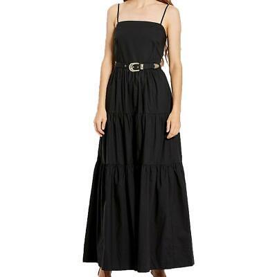 Nicholas Womens Kerala Black Teired Belted Sleeveless Maxi Dress 8 BHFO 9643