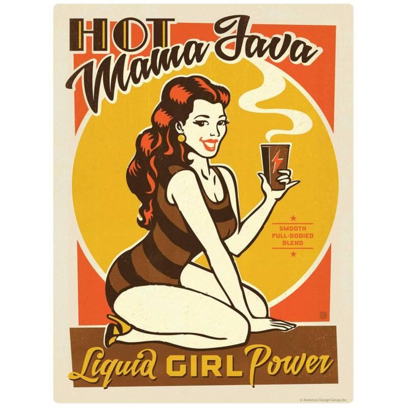 Hot Mama Java Coffee Pinup Girl Decal Peel and Stick Decor
