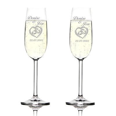 2er Set Sektgläser inkl. Gravur im Herz zwei Ringe Herzen Champagnerglas