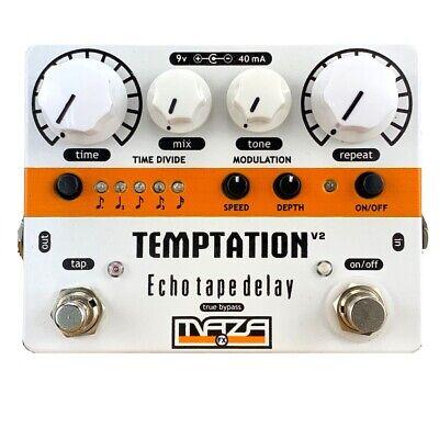 Maza Fx Echo-Tape-Delay Guitar Pedal - V2 White TEMPTATION-W