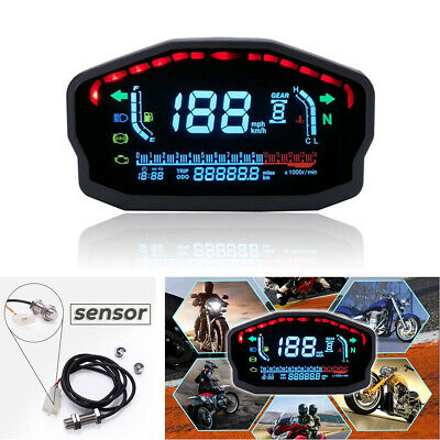 LCD Digital Universal Motorcycle Odometer Speedometer Tachometer KM/H MPH Gauge