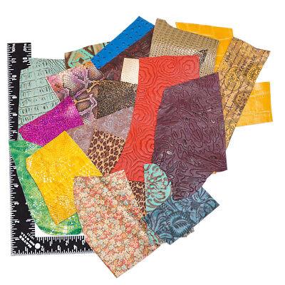 Bright Colorful Embossed Printed Premium Cowhide Leather Craft Scrap Remnants