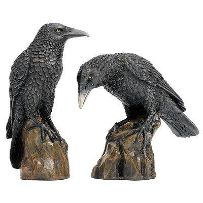 Raven Bird Statue Statuary Animal Figurine Sculpture Halloween Gothic Decor Art
