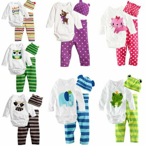 3pcs Baby Boys Girls Kids Newborn Hat+Romper+Pants Trousers Outfit Clothing Set