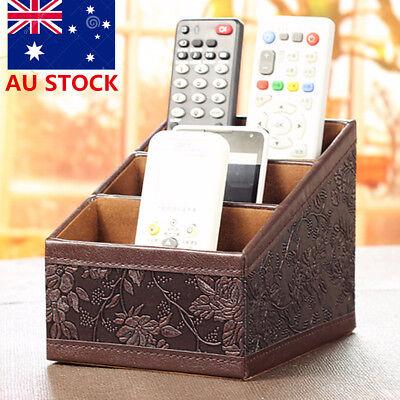 AU Leather Desk Storage Box Remote Controller TV Guide Organizer Caddy Holder