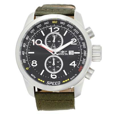 Invicta Men's Watch Aviator Chronograph Black Dial Green Nylon Strap 19409