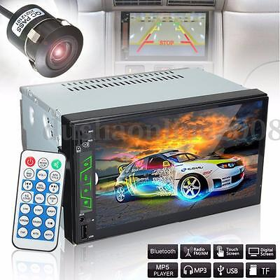 "7""Double 2DIN Car Bluetooth Touch Stereo FM Radio MP5 Player + Rear View Camera"