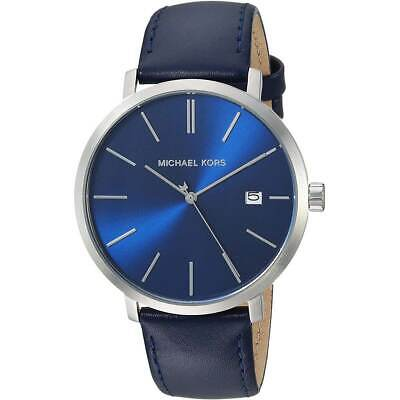 Michael Kors Men's Watch Blake Quartz Blue Dial Leather Strap MK8675