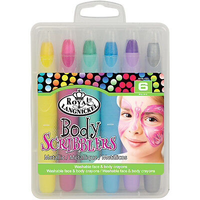 Childrens Scribblers x6 Metallic Colours Washable Face & Body Painting - Bodypainting Kostüm