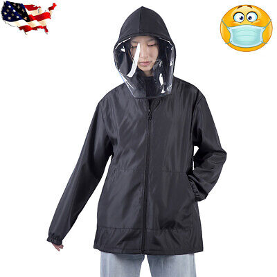 Men Women Waterproof Hooded Outdoor Coat Removable Face Protective Mask Jacket