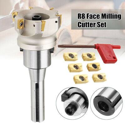 400r 80mm Face End Mill Cnc Cutter R8 Fmb27 Arbor 6pcs Apmt1604 Carbide Insert