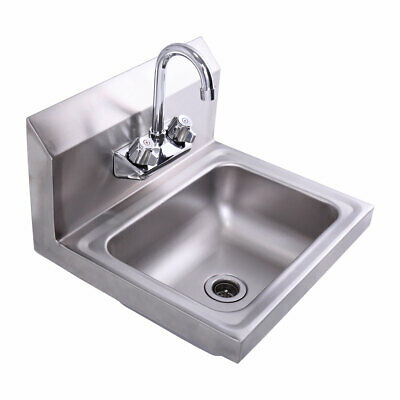Stainless Steel Wall Mount Kitchen Sink Bathroom Hand Wash Sinks Wfaucet