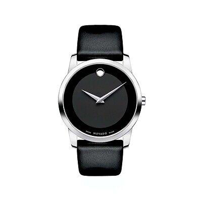 Movado Museum 0606502 Black Leather Swiss Quartz Men's Watch Silver Case