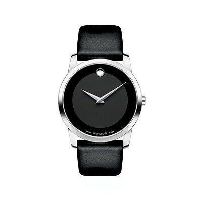 $249.00 - Movado Museum 0606502 Black Leather Analog Quartz Men's Watch Silver Case
