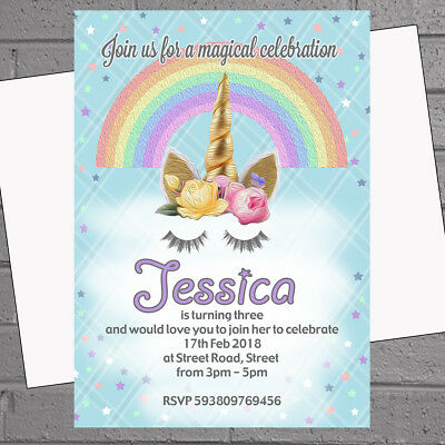 12 x Unicorn Party Invitations Personalised Kids Birthday Invites | H1668](Kids Invitations)