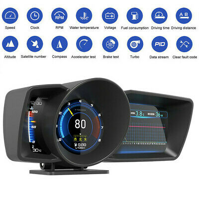 Onboard Computer OBD2+GPS HUD Gauge Head Up Car Digital Speedometer Turbo RPM