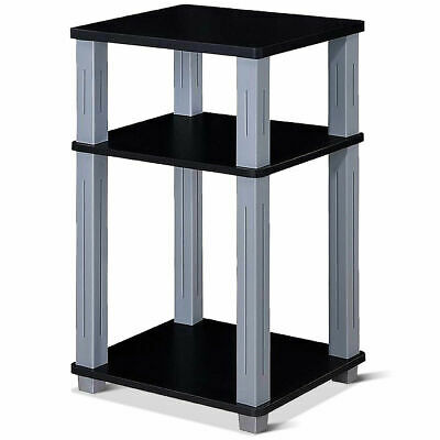 3 Tier Display Tables (3 Tier End Table Storage Multipurpose Shelf Night Stand Display Shelving Black )