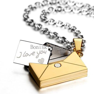 Stainless Steel Envelope   I Love You   Pendant Necklace Valentine Lovers Gifts