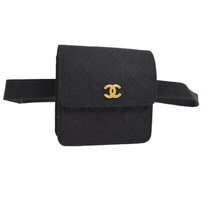 CHANEL Quilted CC Logos Bum Bag Waist Pouch Black Canvas Vintage A46599c