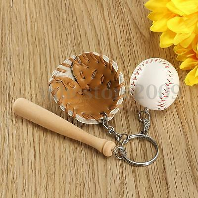 Novelty Cute Baseball Glove Bat Key Chain Sports Keyring Keychain Christmas Gift