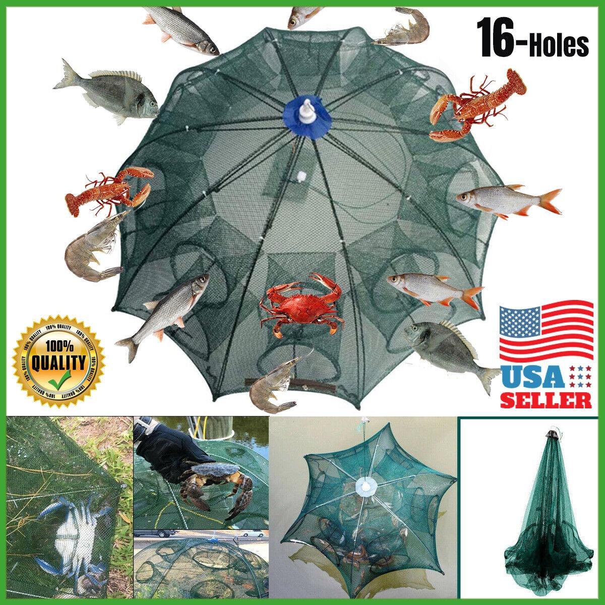 USA Fishing Bait Trap Crab Net Crawdad Shrimp Cast Dip Cage Fish Minow Foldable Fishing