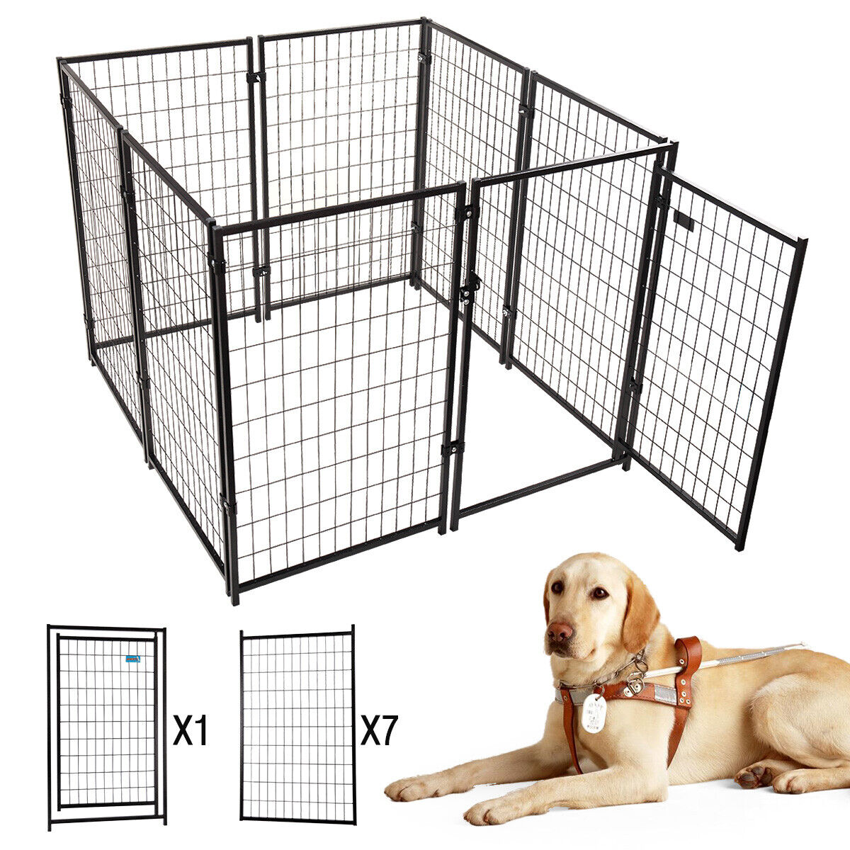 """8-Piece 45.7""""H Outdoor Heavy-Duty Metal Dog Fence Kennel E"""