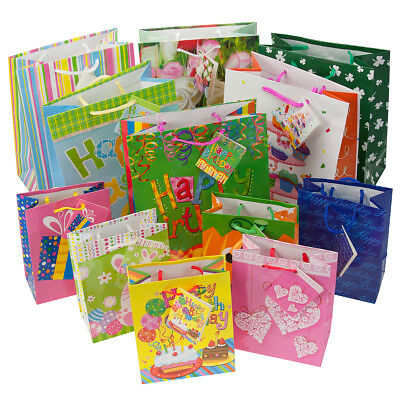12pc Gift Bags Set Birthday Valentines Easter Halloween Bulk Small Lot Handles](Easter Gift Bags)