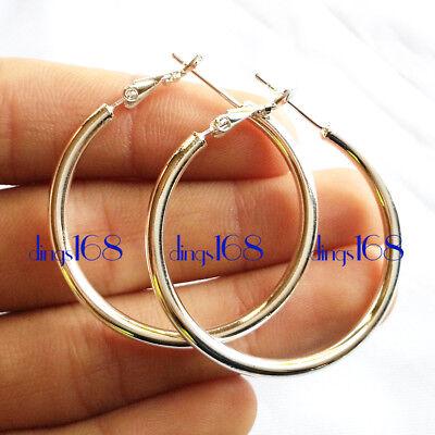 Classic Ladies 925 Sterling Silver Medium-Size Round Tube Hoop Earrings -