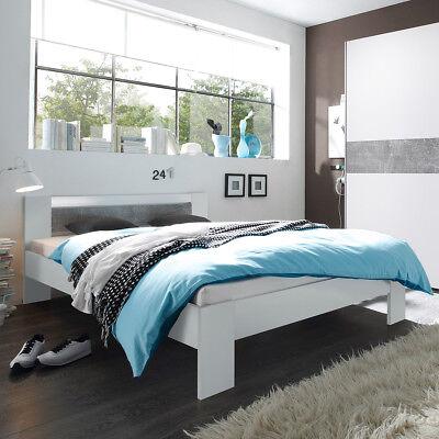 Futonbett Vega Bett in weiß und Beton mit Rollrost und Matratze 140x200 cm