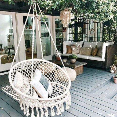 330lbs Capacity Hammock Chair Macrame Hanging Swing Outdoor