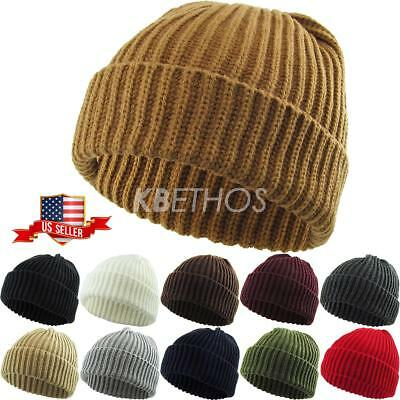 08354d48a16 THICK Ribbed Beanie Knit Ski Cap Skull Hat Warm Solid Color Winter Cuff  Blank