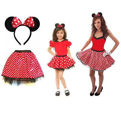 Haarreif Schleife Tütü Kostüm Damen Fasching Outfit Karneval Maus Polka Punkte