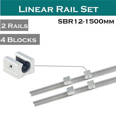 2pcs Sbr12-1500mm Linear Rail Shaft Rod L1500mm 4pcs Sbr12uu Block For Cnc