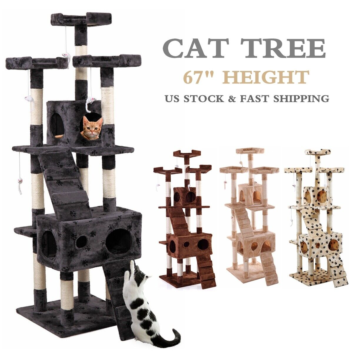 """67"""" Cat Tree Condo Tower w/Scratching Post Pet Kitty Play Cl"""