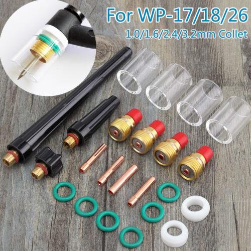 23pcs TIG Welding Torch Gas Lens Parts #10 Pyrex Cup Collet Kit For WP-17/18/26