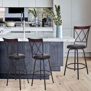 Set of 3 Adjustable Swivel Pub Chairs Bar Stools Steel Frame Modern Barstool
