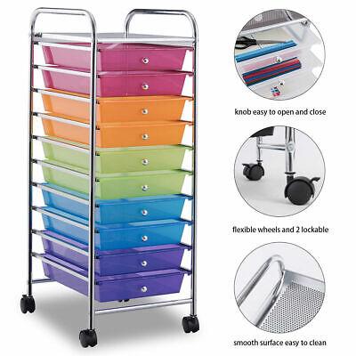 Rainbow 10 Drawer Rolling Storage Cart Scrapbook Home Office School Organizer