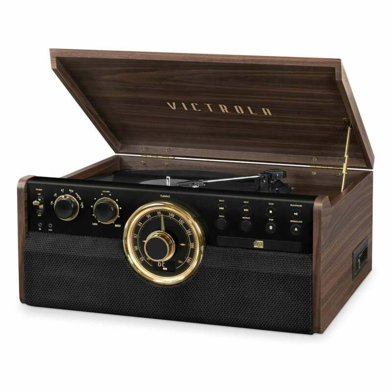 Victrola Bluetooth Record Player with Turntable, CD, & Radio - Refurbished