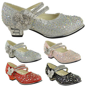 CHILDRENS-GIRLS-KIDS-MID-LOW-HIGH-HEEL-DIAMANTE-PARTY-SHOES-BRIDAL-SANDALS-SIZE