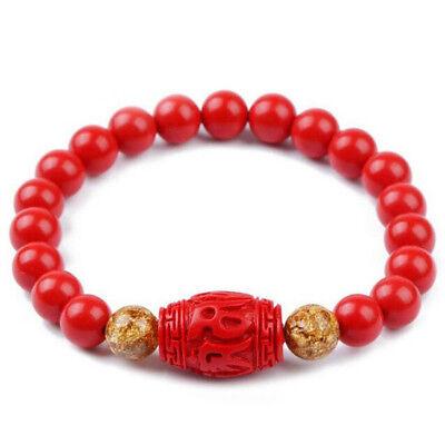 Zinn Natürlichen (Chinesische 8MM Natürliche Rote Bio Zinnober Elastisches Armband Glück Amulett)