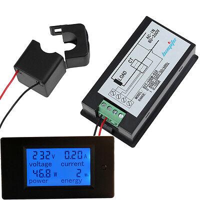 100a Ac 260v Digital Watt Power Energy Current Amp Meter Voltmeter Open-close Ct