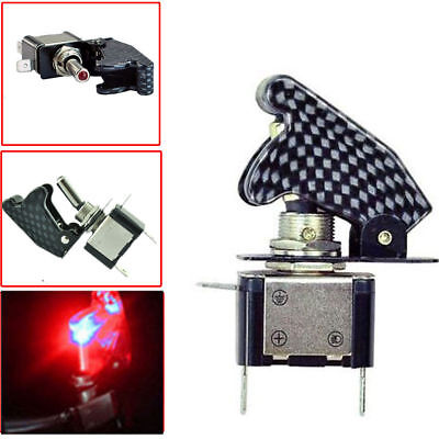 Red Led Carbon Fiber Toggle Switch Control 12v On Off For Car Spst Full New