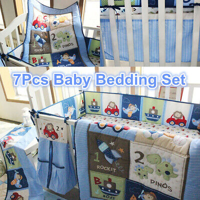 7Pcs Blue Nursery Baby Boy Bedding Crib Cot Set Quilt Bumper Sheet Blanket Cover for sale  Shipping to Canada