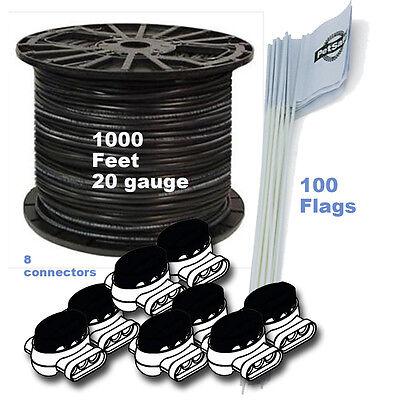 Dog Fence Boundary Kit - DOG FENCE 1000 FT 20 Ga BOUNDARY WIRE 100 FLAGS 8 CONNECTORS KIT